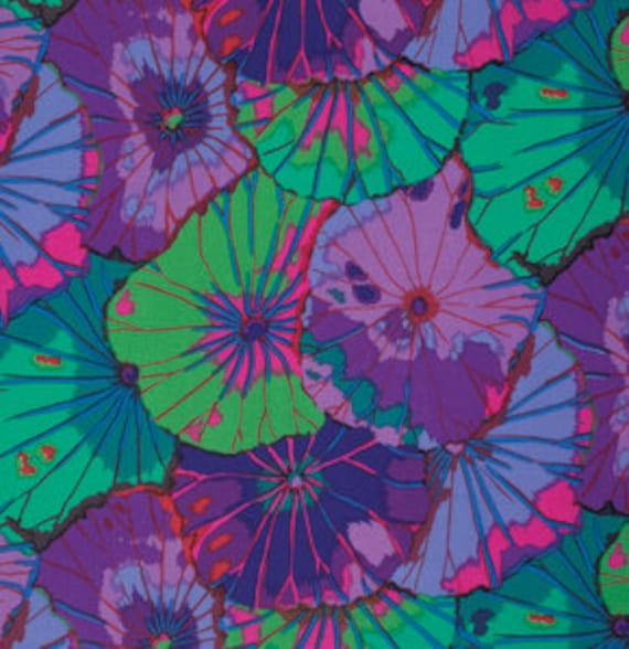 LOTUS LEAF PURPLE GP029 by Kaffe Fassett   1/2 yd - Multiples cut continuously