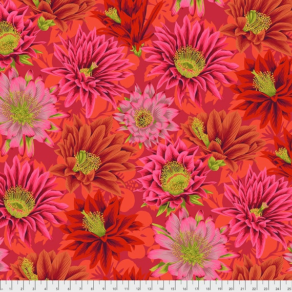 CACTUS FLOWER RED pwpj096 Philip Jacobs Kaffe Fassett Collective -  1/2 yd - Multiples cut continuously - Multiples cut in one length
