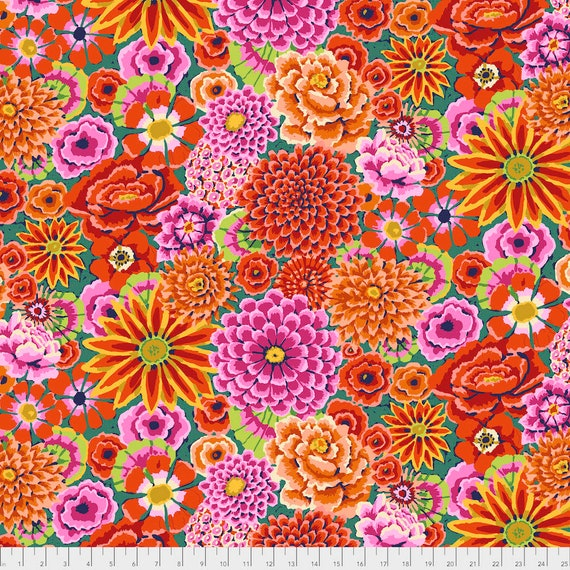 ENCHANTED RED Kaffe Fassett PWGP172  1/2 yd - Multiples cut continuously