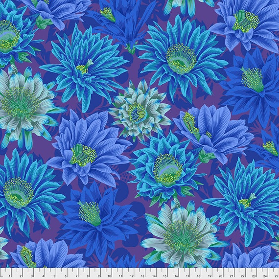 CACTUS FLOWER BLUE pwpj096 Philip Jacobs Kaffe Fassett Collective -  1/2 yd - Multiples cut continuously - Multiples cut in one length