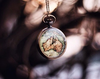 world map pocketwatch necklace wanderlust travel lover jewellery womens jewelry tumblr gifts for her australia bohemian