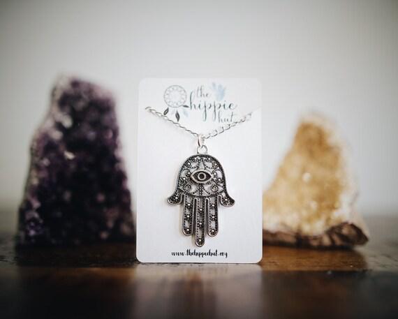Hamsa Hand Necklace Silver Pendant Tumblr Hippie Bohemian