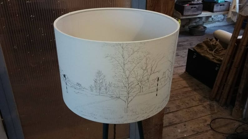 Golf Course hand drawn as a panoramic view on a lamp shade image 0