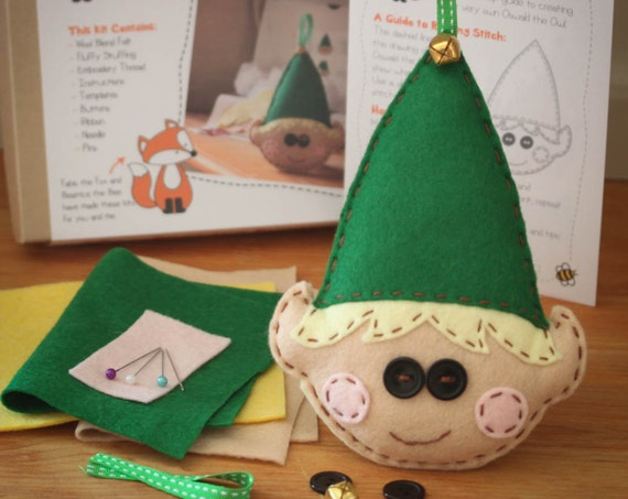 Elwood the Elf Christmas Felt Sewing Kit - Perfect gift for kids and adults of all abilities - Includes everything you need