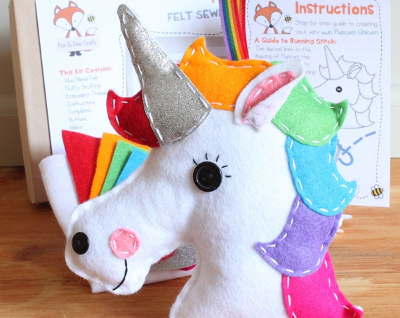 Popcorn the Unicorn Felt Sewing Kit -  Perfect gift for kids and adults of all ages & abilities - Includes everything you need