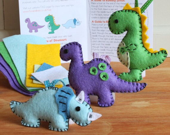 Dinosaur Friends Felt Sewing Kit - Triceratops T-Rex Diplodocus - Perfect gift for kids & adults - Includes everything you need
