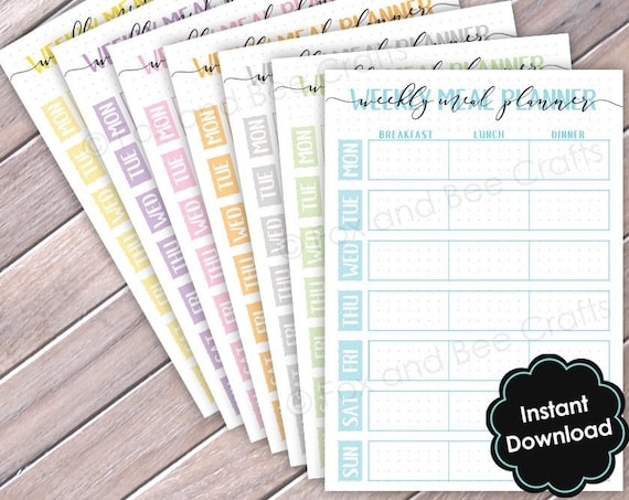 Printable Weekly Food Planner Downloadable sheets | A5 size | Food Planner | BUJO | Slimming world | Weight watchers