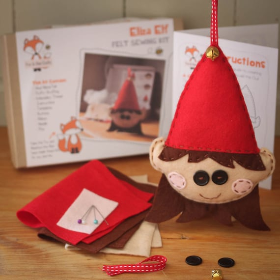 Eliza the Elf Christmas Felt Sewing Kit - Perfect gift for kids and adults of all abilities - Includes everything you need