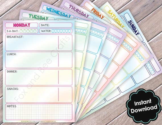 Printable Daily Food Diet Sheets | Rainbow Patterns | Food Diary | A5 size | Food Planner | Slimming world | Weight watchers