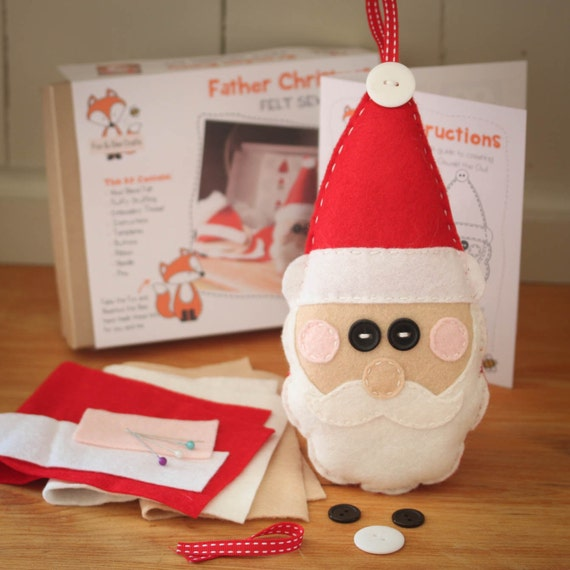 Father Christmas Santa Felt Sewing Kit - Perfect gift for kids and adults of all abilities - Includes everything you need