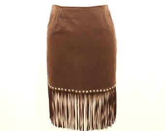 MOSCHINO Brown Studded Mod Western Southwest Cowgirl Faux Leather Suede Fringe Mini Skirt