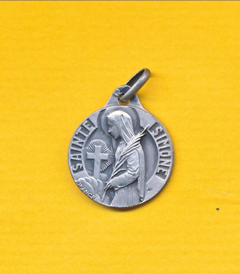 Antique sterling silver charm religious medal Pendant Saint Simone (ref  1155)
