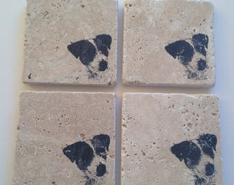 Set of 4 Jack Russell dog coasters - high quality - made in Scotland
