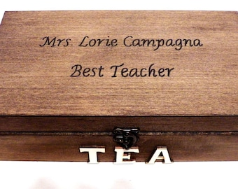 Personalized Tea Box, Wooden Tea Box, Large Tea Box, Tea Bag Box, Large Tea Chest, Kitchen Tea Box, Tea Bag Holder, Custom Wood Tea Box