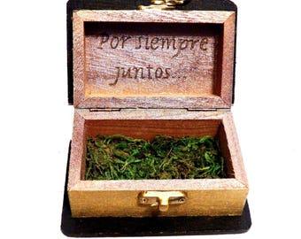 Caja personalizada del anillo de boda, caja de la novia de la boda, caja de la pareja, caja del libro, regalo del aniversario de boda