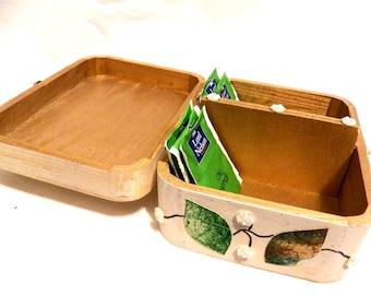 Caja té madera, caja té personalizada, caja té pequeña, caja té blanca, regalos té, caja té portátil, cofre té, caja de té de boda