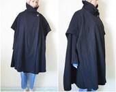 Black cape coat wool Avant garde womens warm winter coat unusual Vintage 90s minimalist jacket S Small