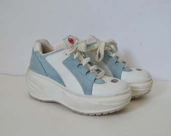 1508d15a14 Platform trainers blue white suede Leather Shoes club kid 1990s sneakers  stop spice girls shoes Vintage 90s UK 3 EU 36 US 5.5