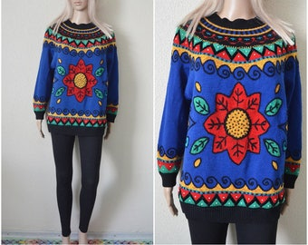 96a2449d19cb Colourful sweater Blue red floral beaded geo pattern jumper Womens  Christmas festive patterned hipster vintage 90s S Small