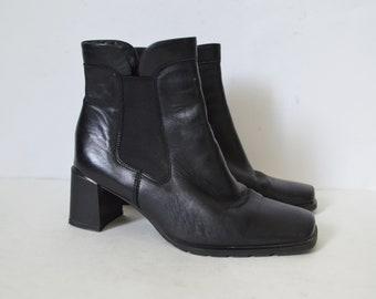 41326aa56c8 Black ankle boots leather womens block heels Ecco boots heels womens  Minimalist Finnish boots Vintage 90s Size UK 3.5 US 6 EU 36.5