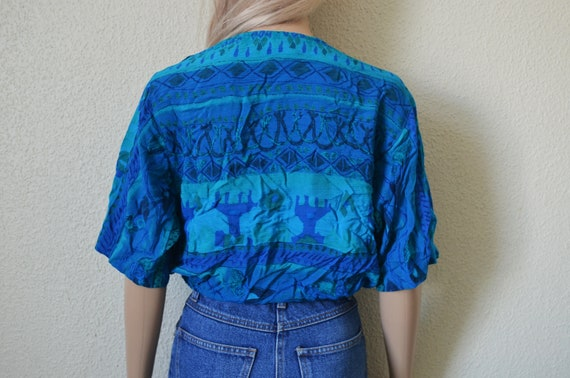 Blue patterned blouse abstract print crossover V neck wrap look Tribal scarf pattern geometric womens UK 10 US 6 S Small