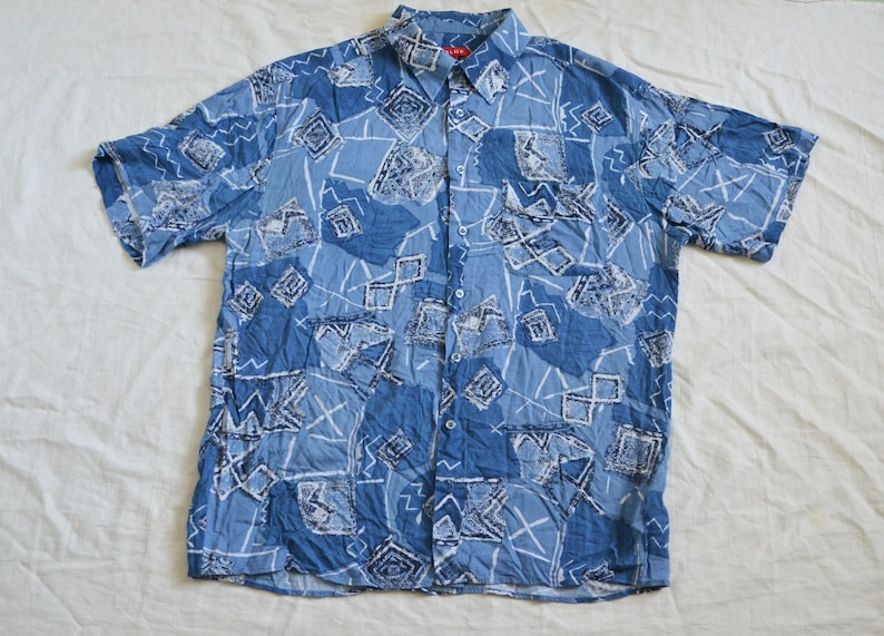 7c211c6be33c1 Blue patterned shirt Abstract print Mens button up geometric