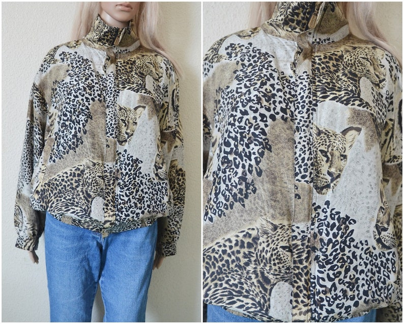 eba21cb19 Silk Bomber jacket Leopard print Womens Animal tiger pattern Vintage 90s  Urban Club kid Hipster Indie Hip Hop Slouchy oversized M Medium
