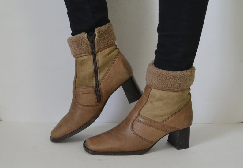 18cd0e1039031 Beige Brown leather ankle boots winter booties womens sheepskin style  Vintage 90s Size UK 4 US 6.5 EU 37
