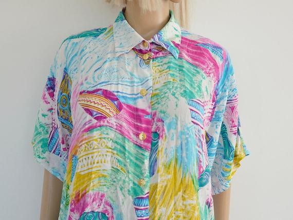 retro blouse 80/'s women/'s button down 90/'s pattern shirt long sleeve Size L disco shirt summer Abstract print blouse oversize shirt