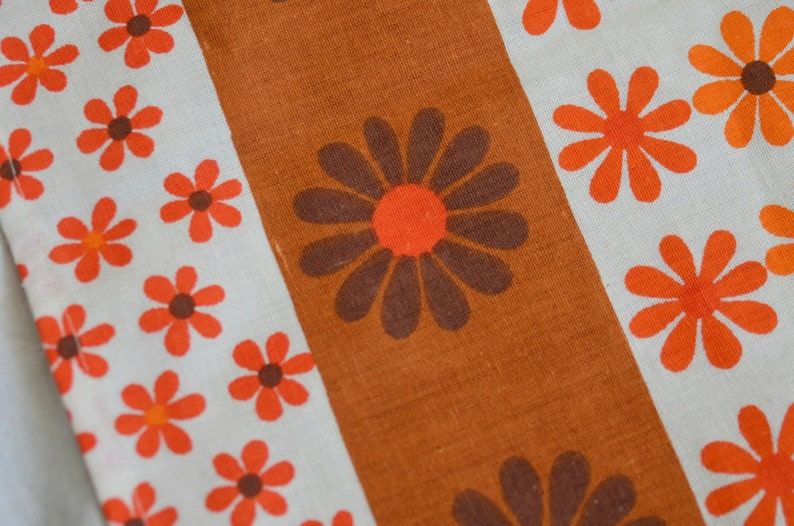 Vintage 70s curtains Orange floral brown pair of 2 Retro Flower print pattern Fabric Scandinavian Swedish L 44 x W 38.2 inches home decor