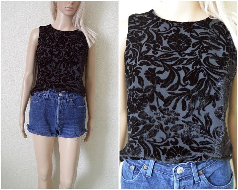 469f0438 Black burn out velvet top blouse silk Womens sleeveless tank | Etsy
