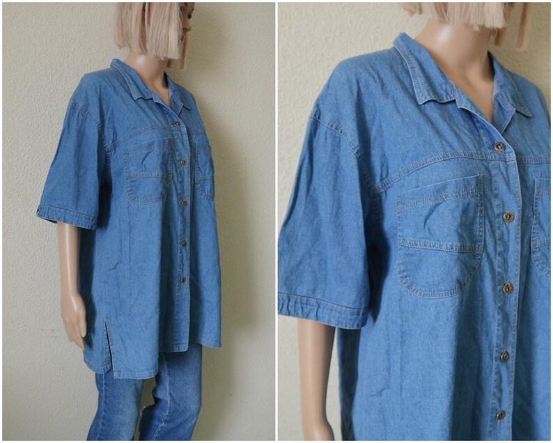 8dd41fd88 Blue denim shirt womens blouse button down up Vintage 90s | Etsy