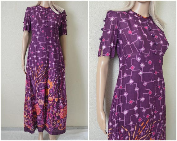 Boho maxi dress Purple floral abstract patterned r