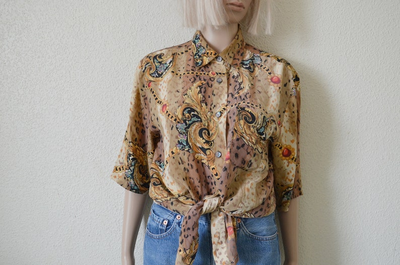 0791ad2a Baroque blouse gold chain leopard animal print shirt silk scarf abstract  pattern Versace style womens Vintage 90s Oversized Small M Medium