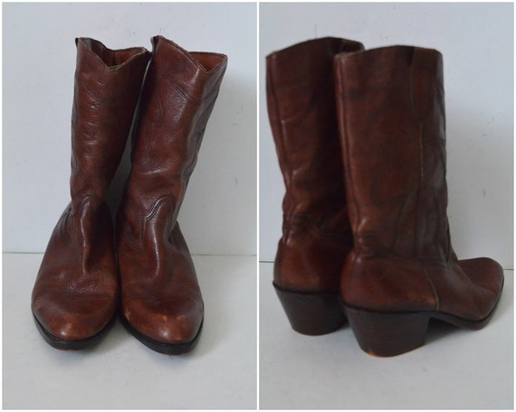 boots 43 Chunky block boots leather western winter EU Brown lined boots Womens high heel calf cowboy boots wSxapXqg4
