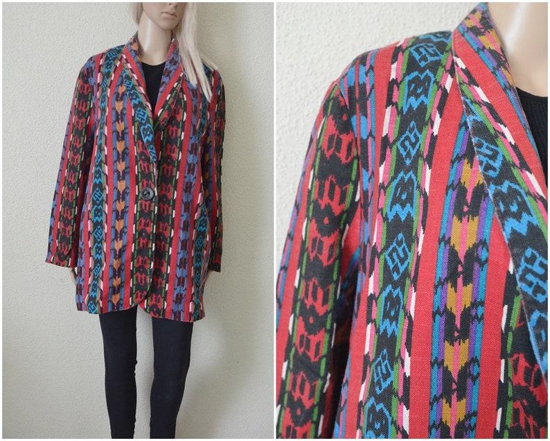 361bf16a2cbf6 Aztec jacket Tribal pattern Ethnic coat Womens vintage 90s