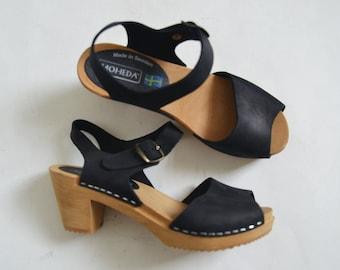 Black leather clogs Swedish Moheda sandals nubuck leather Womens chunky block heel Open toe Summer shoes Retro mod UK 3.5 Eu 36 US 6