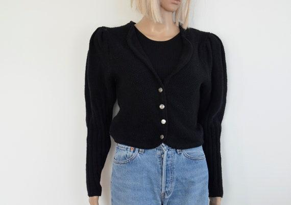 Black wool Cardigan womens puff sleeve cardigan pu