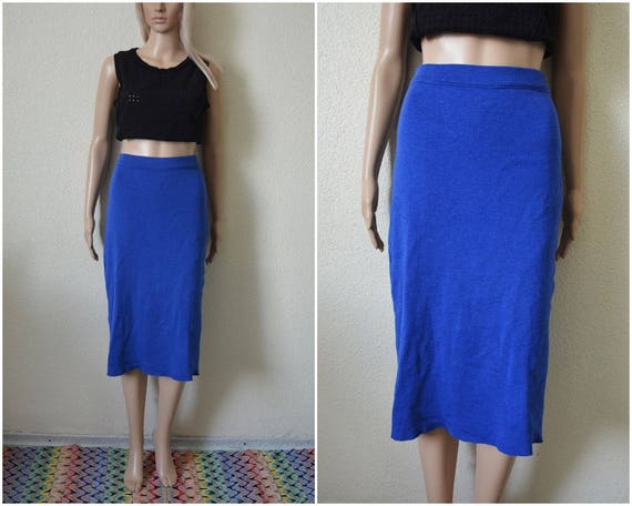 Blue wool skirt midi pencil skirt cobalt blue high waisted knitted fitted pin up French Vintage 90s Retro mod S Small UK 8 10