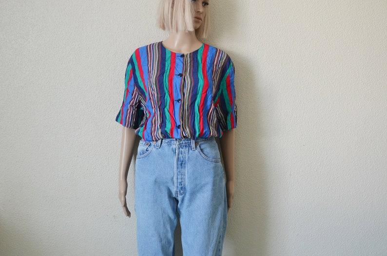 4e452961e5bfe0 Striped Blouse multicolour shirt Blue green red stripes Womens | Etsy