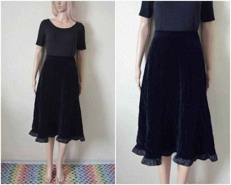 1edbeec059 Black velvet skirt long midi skirt Vintage 90s High waisted | Etsy