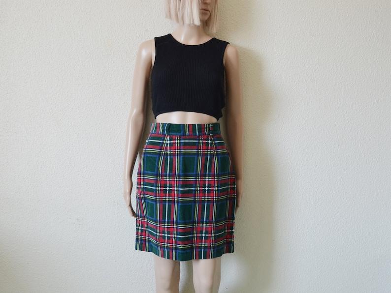 007fa534a0 Plaid corduroy skirt Cord mini skirt green check high waisted | Etsy