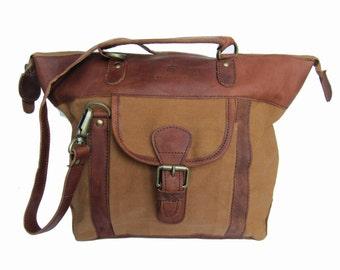 Canvas and Leather Handbag/ Cross Body Bag/ Tote