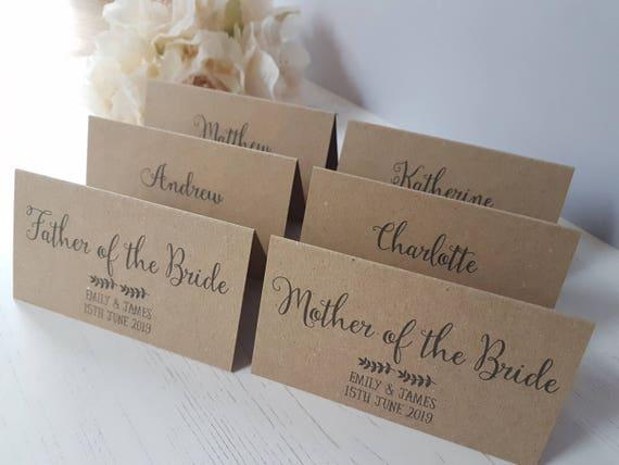 Wedding Place Cards Personalised Rustic Kraft Wedding Name Etsy