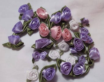 ribbon roses lilac white or pink 10mm or 17mm UK seller