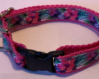 """Tiny Tropical Flowers Collar (1/2"""" wide)"""