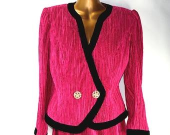 889bf18ad23b Vintage Talbots Vivid Hot Pink Jacket and Skirt Black Velvet Trim and  Rhinestone Buttons