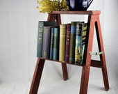 Vintage Wood Step Ladder Folding Wooden Stool Decorative Book Rack End Table Plant Stand