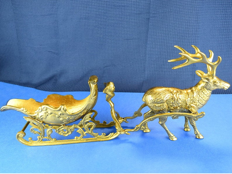 Vintage Brass Santa Sleigh Antique Ornate Sled with Angel by image 0
