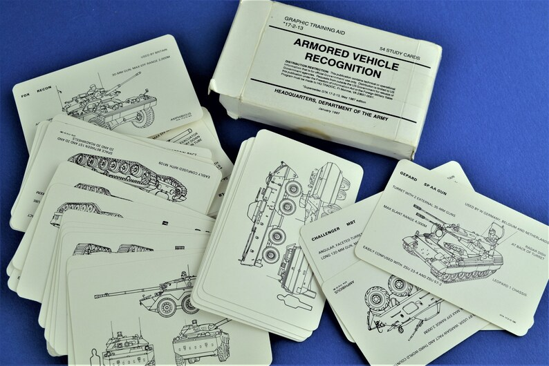 Vintage Army Military Study Cards Armored Vehicle Recognition image 0